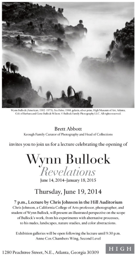 Lecture about Wynn Bullock, Thurs., June 19th at High Museum of Art