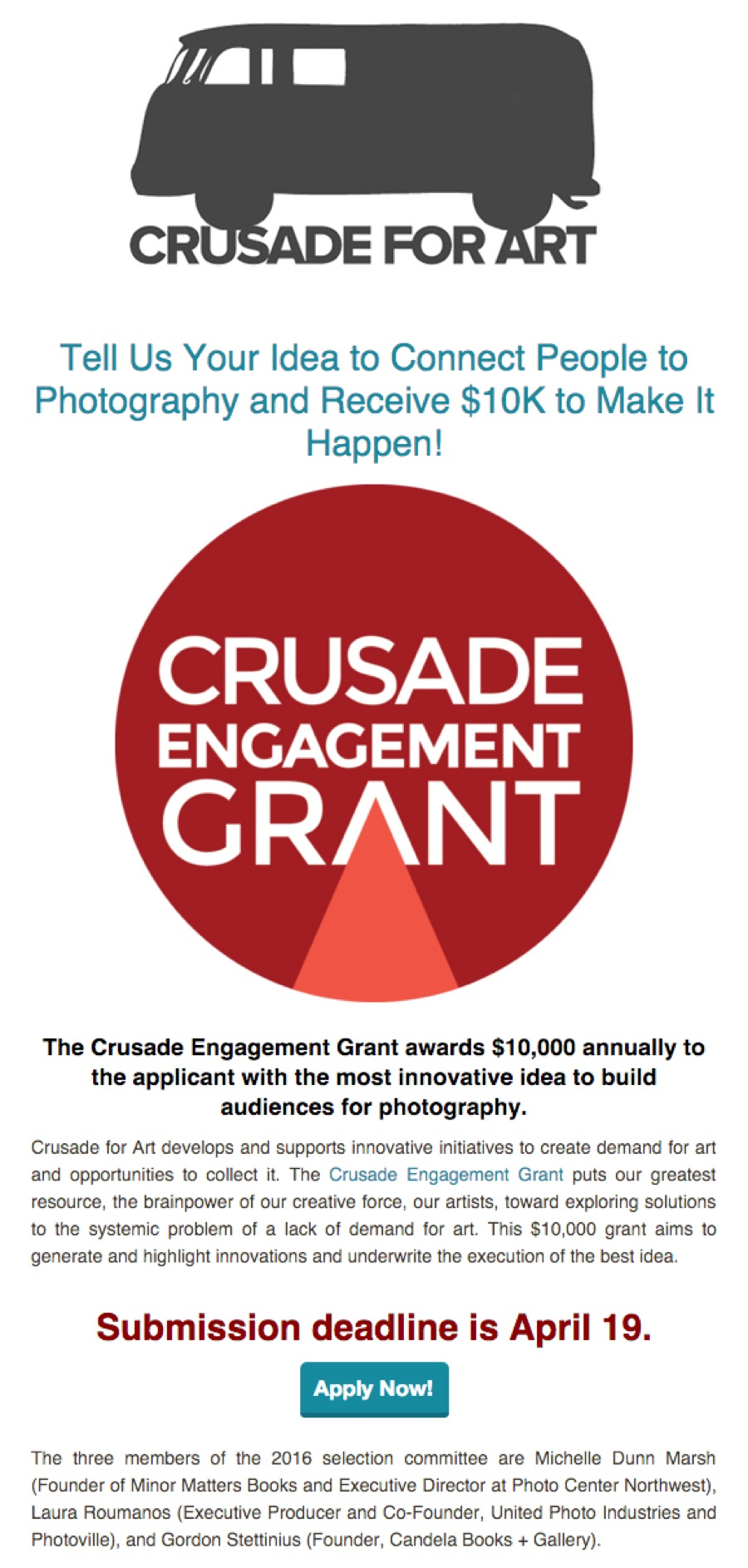 $10K Crusade Engagement Grant - Due April 19th
